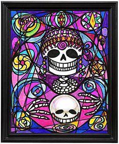 """11x14 Psychic Fortune Teller Skull Art Print in 11""""x14"""" Black Wood Frame Artisan Courtyard http://www.amazon.com/dp/B00N9KX5H8/ref=cm_sw_r_pi_dp_HBekvb1ZRFV91"""