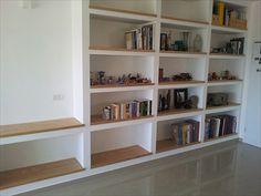 Timber overlaid on plaster shelves Bookshelves, Bookcase, Custom Shelving, Plasterboard, New Room, Home Living Room, Game Room, Lounge, Interior Design
