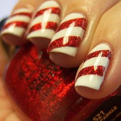 red christmas nail art for short nails - Google Search