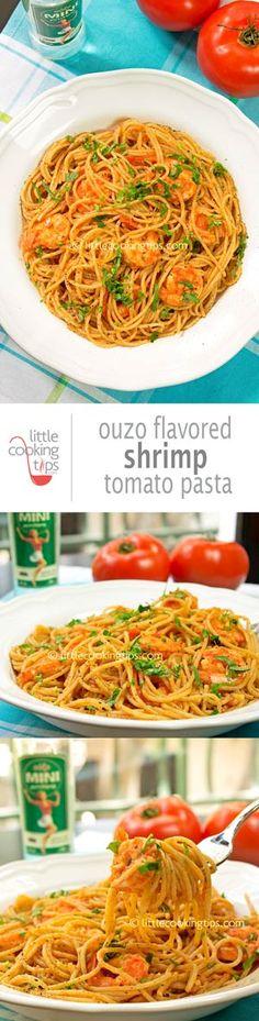Ouzo flavored shrimp tomato pasta. A unique Greek anise-flavored pasta, that's perfect with shrimp. Opa! Repin to your own inspiration board! #pasta #shrimp #spaghetti #ouzo #tomato