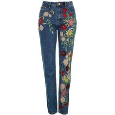 Embroidered Jeans by Glamorous Petites ($51) ❤ liked on Polyvore featuring jeans, pants, topshop, embroidered jeans, blue jeans, embroidery jeans and topshop jeans