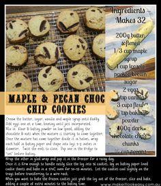Maple Pecan Choc Chip Cookies  #cookies