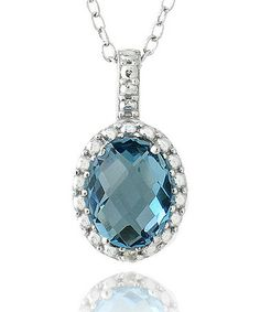 Take a look at this London Blue Topaz & Sterling Silver Framed Oval Pendant Necklace by Designs by FMC on #zulily today!