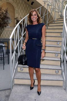 """On the occasion of the award """"È Giornalismo"""", the Italian journalist Cristina Parodi wore a Blumarine dress from the Fall Winter 2013/14 collection. • Milan, Italy - October 2, 2013"""