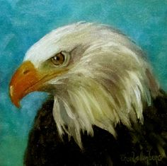 Oil Portrait Painting of American Eagle 8x8 Canvas Oil Original by Cheri Wollenberg