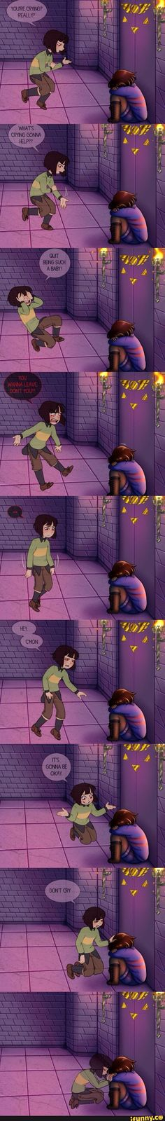 undertale, chara, frisk I imagine this happens if Frisk gains control during a genocide run, but only after Chara has already killed everyone Frisk knows and loves