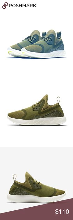 Nike LunarCharge Essential Running Shoe Olive 8.5 Name: Nike LunarCharge Essential Brand: Nike  Condition: New without box, 100% Authentic Size: Women's US 8.5 / UK 6 / EUR 40 / cm 25.5 Color: Camper Green / Legion Green / Sequoia  Material: Textile upper, Rubber sole    Features: Textile upper Bootie construction delivers a sock-like fit Lunarlon midsole for a smooth ride Laser-siped outsole pods for flexibility and multi-surface traction Eyelets with secure lace-up closure Pull tab on heel…