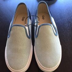 Gap slip on sneakers Gap light and dark denim slip on sneaker. Rounded toe, rubber outer sole, elasticize detailing at sides for a comfortable fit. Runs a bit big- these fit more like a 6.5. Brand new. GAP Shoes Sneakers