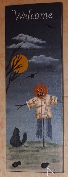 Hand Painted Welcome Halloween Autumn Scarecrow Cat Moon Sign with Shaker Pegs by CoveredBridgePrim on Etsy https://www.etsy.com/listing/65997226/hand-painted-welcome-halloween-autumn