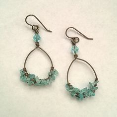 Apatite Gem Hoops [EOGM2052H] - $17.00 : Chain Effects Handcrafted Jewelry, Handmade Jewelry