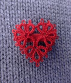 Tatted Valentine Heart Pin. $3.50, via Etsy. Adorable!