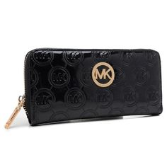 Michael Kors Jet Set Monogram Continental Wallet Black
