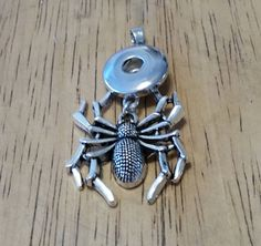 Silver Snap Pendant Locket - 18mm - Spider Charm Attached by GailsGiftHut on Etsy