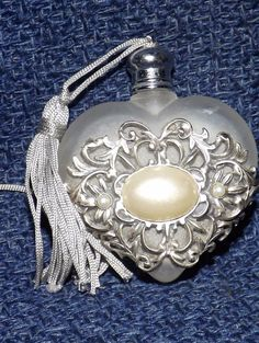 Vintage Satin Glass Heart Silver Metal Filigree Pearl Accent Perfume Bottle
