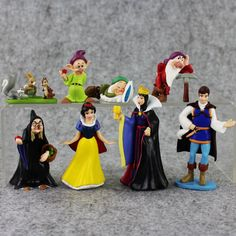 New 8pcs/lot Blanche-Neige et les Sept Nains Snow White Prince Queen PVC Action Figure Collectible Model Toy