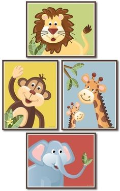 Set of 4 Nursery Prints  Jungle Jingle Animals by smileywalls, $24.90 want these for Hunters room!!