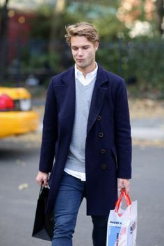 Navy blue  coat , Grey sweater and white dress shirt underneath simple and sophisticated