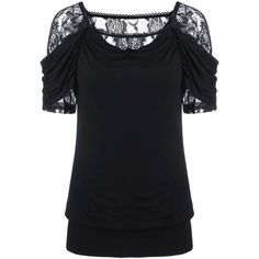 Lace Trim Ruched T Shirt (5.425 HUF) ❤ liked on Polyvore featuring tops, t-shirts, rouched top, shirred top, gathered top, ruched tee and shirred tee