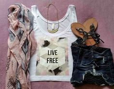 Bohemian Live free quote flowy cropped tank top by StarrJoy16. Etsy.com/shop/StarrJoy16   Perfect  for   teens and tweens. #hippie #bohemian  #fashion