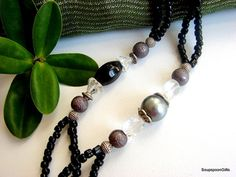Items similar to Beautiful Beaded Necklace - Black / Silver - on Etsy Black Silver, Beaded Necklace, Handmade, Stuff To Buy, Etsy, Vintage, Beautiful, Jewelry, Fashion