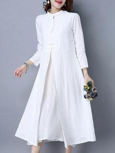 Vintage Women Patchwork Stand Collar Long Sleeve Dress - Banggood Mobile Linen  Dresses afac450af087