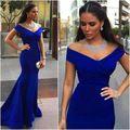 Royal Blue Mermaid Evening Dress 2016 Sexy V Neck Cap shoulder Long Formal Women Arabic Evening Gown Prom Dress Vestido de Festa