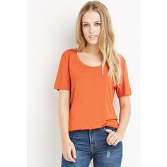 Forever 21 Women's  Scoop Neck Tee ($9.90) ❤ liked on Polyvore featuring tops, t-shirts, forever 21 tops, scoopneck top, short sleeve tee, red scoop neck tee and red tee