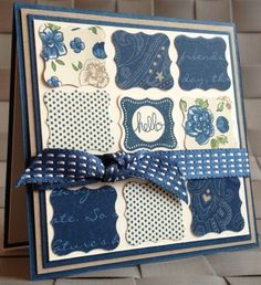 handmade card ... square filled with a nine block pattern of inchies ... punched small labels ... knotted ribbon band ... center inchie with HELLO ... patterned papers all in same blue color wave ... luv it!!