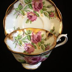 This cup and saucer is in the Avon shape by Royal Albert. The rim of cup and saucer are decorated with a wide gold gilding. Tea Cup Set, My Cup Of Tea, Tea Cup Saucer, Antique Tea Cups, Vintage Cups, China Cups And Saucers, China Tea Cups, Royal Albert, Tea Party Setting