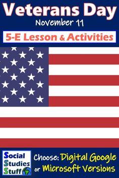 Social Studies Resources, Teacher Resources, Teacher Pay Teachers, Teaching Ideas, Veterans Day Activities, Literacy Activities, American History Lessons, Map Skills, Microsoft