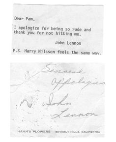 Note from John Lennon
