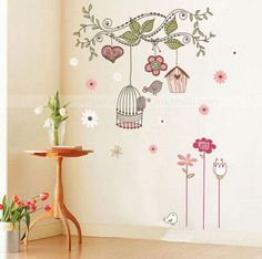 DIY-Nursery-Home-Kids-Room-Mural-Decor-Lovely-Birds-Cage-Branches-Wall-Sticker