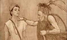 Ammoron and Mormon.  Ammoron hid many of the Nephite's historical records in a place called Cumorah.  He passed them on to the young Mormon.  Artwork by Joseph Brickey.