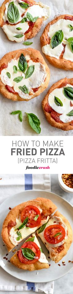 This recipe is great for entertaining. Fry the pizza crust a few hours before topping, then bake to melt the cheese and have your guests add their favorite toppings or keep it simple with cheese and basil | foodiecrush.com
