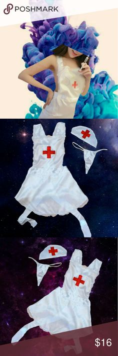 Sexy Lingerie Roleplay White Nurse Backless Hot Sexy Lingerie Fashion Cosplay White Nurse Backless Bellyband type +G-String  Backless Nurse Roleplay - Hot/Sexy Lingerie Comes with medical apron/top (backless) medical hat and g-string.  One size fits most. Up to large. Material: Satin & Lace  Hand Wash Only   1M Intimates & Sleepwear