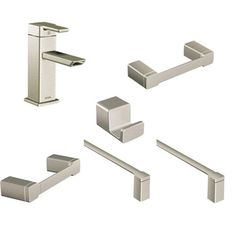 "View the Moen 90 Degree Faucet and Accessory Bundle 3 with Single Hole Bathroom Faucet, Toilet Paper Holder, 24"" Towel Bar, 18"" Towel Bar, Towel Ring and Robe Hook at FaucetDirect.com."