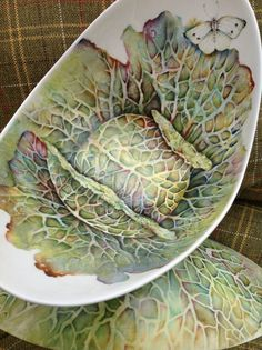 Cabbage painted on China by Mark Jones