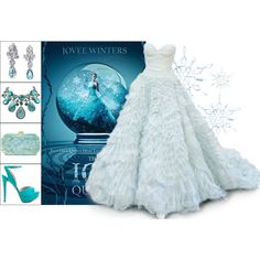 Book Look: The Ice Queen By Jovee Winters by xmikky on Polyvore featuring ALDO, Edie Parker, Bling Jewelry, Swarovski and Oscar de la Renta