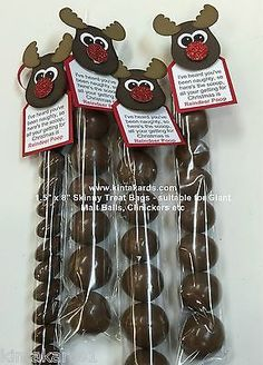 "Skinny Treat Bag Reindeer Poop Stampin Up Punch Art Kit - makes 4 - 1.5 ""x 8"" in Crafts, Stamping, Other Stamping 