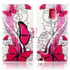 Funda diseño mariposas rosa Tapa piel para tu Samsung Note 4