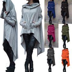 Tops Casual Sweatshirt Asymmetric Hoodies Women Hoodie Dress Long Hooded O6523