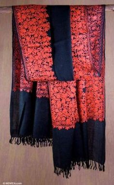 Wool shawl, 'Black Floral Drama' NOVICA. $124.99