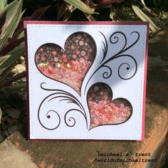 World Of Michael Trent: Valentine Two Hearts Shaker Card - Modernes Valentines Day Cards Handmade, Greeting Cards Handmade, Wedding Anniversary Cards, Wedding Cards, Happy Anniversary, Handmade Scrapbook, Quilling Cards, Shaker Cards, Glitter Cards