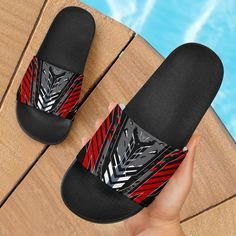 Racing Style Grey & Wild Red Slide Sandals – This is iT Original Grey Fashion, Slide Sandals, Open Toe, Slippers, Slip On, Footwear, Racing, Summer Vibes, Casual