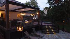 I love designing decks with fire! Backyard Shade, Small Backyard Patio, Back Patio, Backyard Patio Designs, Pergola Designs, Deck With Pergola, Fire Element, Fire Fire, Outdoor Patio Lighting