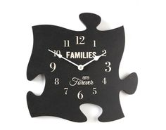 "Piece together your family and friends with this puzzle piece clock. 12"" x 12"""