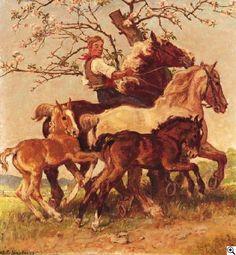 Julius Paul Junghanns: Ausritt. Pferdejunge in frühlingshafter Landschaft aus unserer Rubrik: Gemälde des 19. Jahrhunderts