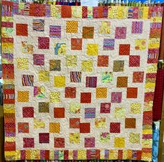 Used #Kaffe Fassett layer cake #modern quilt I call it my #happy#healingquilt,