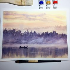 Saturday night. Wonderful time to finish my work. I like to paint in the evening. I hope you too have a great time. ❤