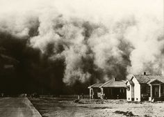 dust storm from the 1930's when large swaths of the US were beset by drought and dust storms that destroyed crops and buried towns.